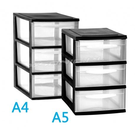 Organizer plastikowa szafka A5 modułowa 3 szuflady duże czarna lub biała