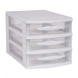 Organizer plastikowa szafka A5 modułowa 3 niskie szuflady czarna lub biała