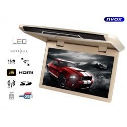 Monitor podwieszany NVOX z matrycą LED o przekątnej 17 cali FULL HD multimedialny odtwarzacz plików SD USB FM