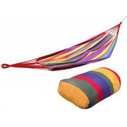 Jednoosobowy kolorowy hamak ogrodowy z tkaniny 85 x 250 cm liny