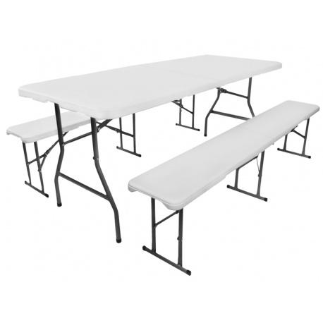 Rozkładany stół cateringowy 180cm + 2 ławki wygodne przenoszenie turystyczny