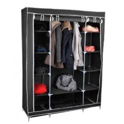 Szafa tekstylna 175 x 135 cm garderoba składana materiałowa na ubrania podwójna z półkami