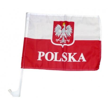 Flaga samochodowa Polski na szybę samochodu na maszcie