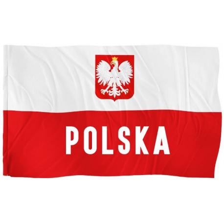 Flaga Polski za napisem duża 87x145 cm dla każdego kibica