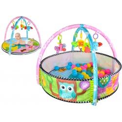 Mata edukacyjna 2w1 zwierzątka dla najmłodszych dzieci kojec z piłeczkami