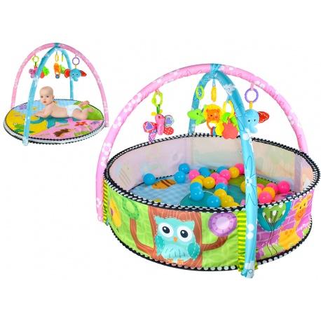 Mata edukacyjna dla najmłodszych dzieci kojec z piłkami Sowa zwierzątka słonik