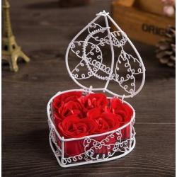 Róże mydło do kąpieli 6 sztuk mydlanych pąków róż w koszyczku
