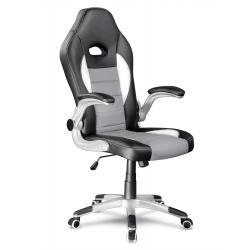 Gamingowy fotel ogrotowy dla gracza kubełkowy STANGER czarno szary