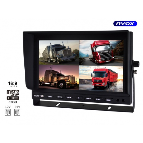 Monitor NVOX 9 LCD do czterech kamer cofania funkcja nagrywania monitoringu 4PinQuad