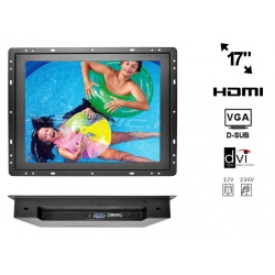 Monitor do zabudowy OPEN FRAME 17 cali LED VGA DVI HDMI metalowa obudowa