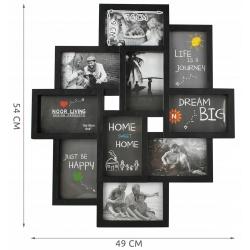 Duża ramka wisząca na zdjęcia 10 miejsc biała lub czarna fotki 10x15