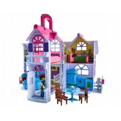 Przenośny domek dla lalek dom z zabawkami 6 pokoi pies mebelki
