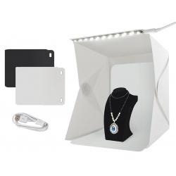 Namiot bezcieniowy 20LED stół studio do zdjęć tła czarne i białe