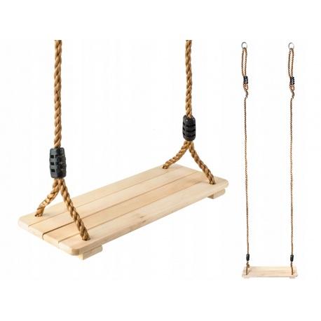 Huśtawka dla dzieci drewniana płaskie siedzisko z linami