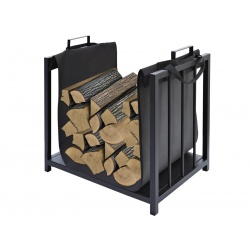 Metalowy kosz na drewno kominkowe czarny stojak 50,5 x 37 x 50cm