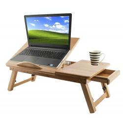 Stolik z drewna pod laptop z regulacją szufladą i chłodzeniem