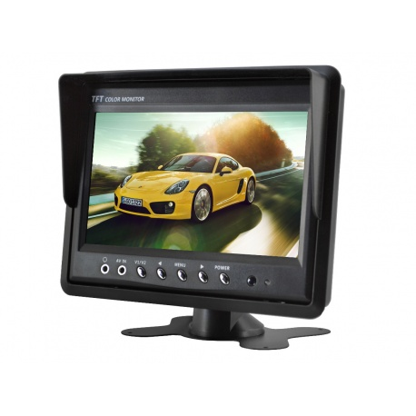 Monitor samochodowy z ekranem LCD o przekątnej 7 cali dedykowany do kamery cofania lub monitoringu dwa wejścia AV