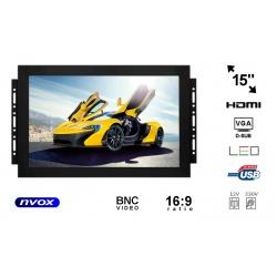 Monitor do zabudowy NVOX typu OPEN FRAME 15 cali LED VGA DVI HDMI metalowa obudowa
