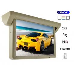 Monitor podwieszany LED HD 19 cali marki NVOX podsufitowy automatycznie opuszczany ekran HDMI VIDEO-IN zasilanie 24V