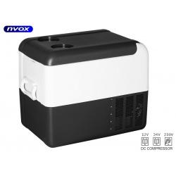 Samochodowa lodówka i zamrażarka NVOX o pojemności 22 litrów sprężarkowa z kompresorem zasilanie 12V/24/230V