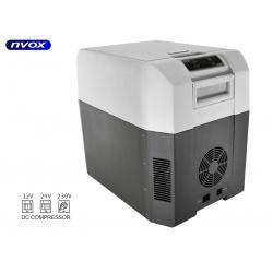 Samochodowa lodówka turystyczna termoeletryczna NVOX o pojemności 25 litrów obsługiwane zasilanie 12V 24V 230V