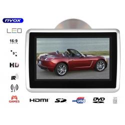 Przenośny odtwarzacz samochodowy montowany na prętach zagłówka NVOX 9 cali TFT LCD HD SD USB napęd DVD nadajnik IR FM