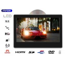 Przenośny odtwarzacz samochodowy montowany na prętach zagłówka NVOX 11.6 cala TFT LCD HD SD USB napęd DVD nadajnik IR FM