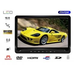 Przenośny odtwarzacz samochodowy NVOX 11.6 cali TFT LED FULL HD SD USB napęd DVD nadajnik IR FM