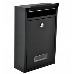 Skrzynka pocztowa na listy miejsce na gazety ulotki pocztę czarna