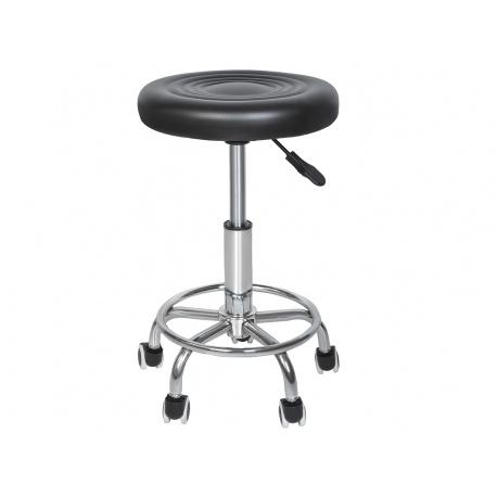 Klasyczny stołek fryzjerski kosmetyczny krzesło hoker na kółkach barowy czarny