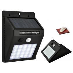 Lampa solarna ścienna 20 diod KINKIET LED czujnik zmierzchu oraz ruchu