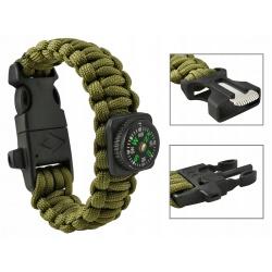 Bransoletka survival Panacord 5w1 kompas krzesiwo linka nóż gwizdek