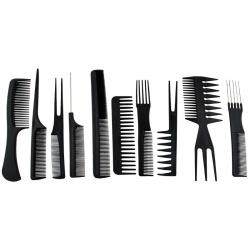 Zestaw fryzjerski 10 x grzebień w etui przenośne różne grzebienie do włosów