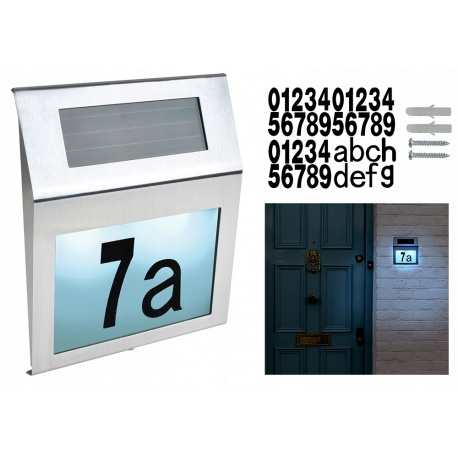 Solarna lampa metalowa LED podświetlany numer domu czujnik zmierzchu