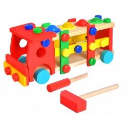 Duża ciężarówka drewniana edukacyjna zabawka zbijak kule młotek śrubokręt
