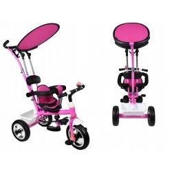 Rowerek dziecięcy trójkołowy wózek jeździk pasy daszek kierowany