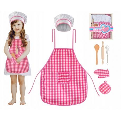 Przybory kuchenne dla dzieci fartuszek strój kucharza wałek do ciasta