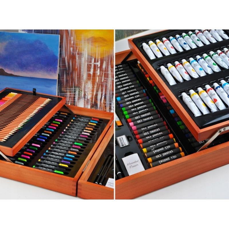 Dodatkowe Duży zestaw do malowania rysowania walizka kredki farby 174 elementy DO34
