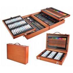Duży zestaw do malowania rysowania walizka kredki farby 174 elementy