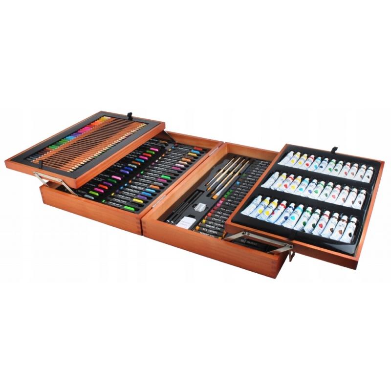 Modish Duży zestaw do malowania rysowania walizka kredki farby 174 elementy VL47