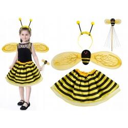 Kostium pszczółka dla dziewczynki strój pszczoła 4w1 komplet