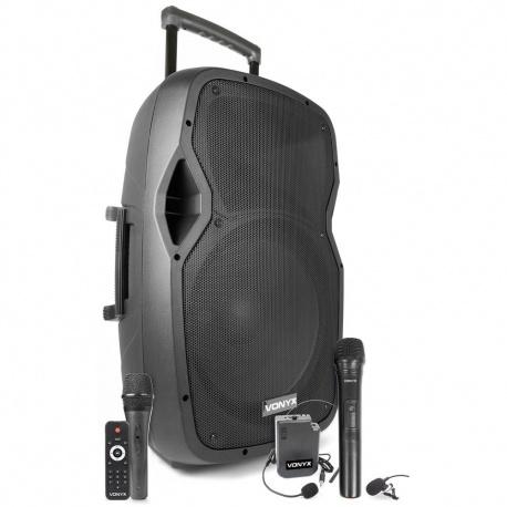 Kolumna mobilna Vonyx AP1500PA 15 calowy głośnik moc 800W body pack z mikrofonem nagłownym