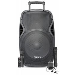 Kolumna mobilna Vonyx AP1500PA 15' głośnik 800W body pack z mikrofonem nagłownym
