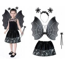 Strój kostium pająk przebranie Czarownica dla dzieci spódniczka skrzydła