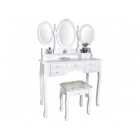 Toaletka kosmetyczna Chics obrotowe lustra i taboret biała do sypialni