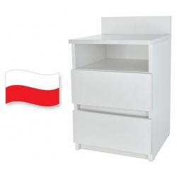 Szafka nocna kontenerek 2 szuflady półka wnęka komoda biała