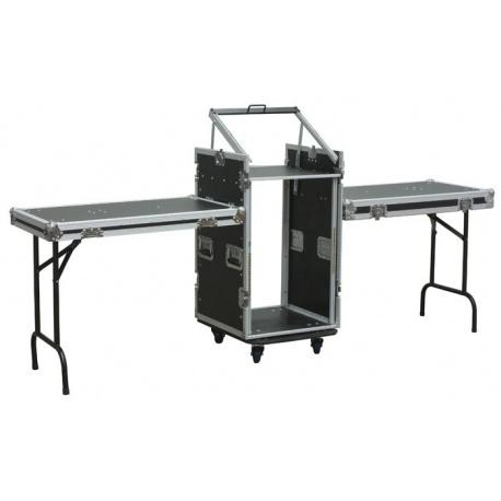 Duży Rack Case z podwójnym stołem Power Dynamics możliwość montażu miksera lub sterownika
