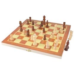 Klasyczne szachy drewniane gra zamykane w pudełku z tablicą 30x30cm