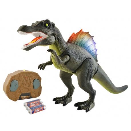 Zdalnie sterowany dinozaur z pilotem świeci ryczy chodzi porusza głową