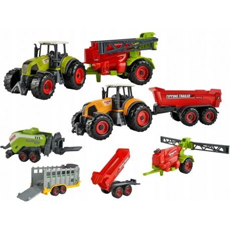 Maszyny rolnicze zabawki metalowe 2 traktory 4 ciągnik przyczepa dla dzieci